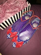 Too Fast Blue Sailor Ankle Strap Flats Women's Shoes Size US 10 UK 8