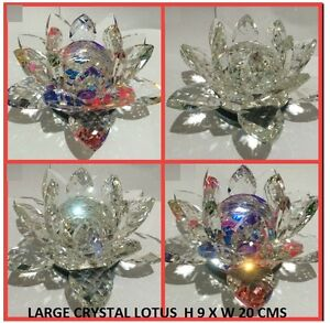 EXTRA BIG CRYSTAL LOTUS FLOWER ORNAMENT WITH GIFT BOX CRYSTOCRAFT-ALL COLOURS