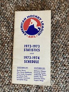 AHL 1972-73 Stats + 1973-74 Schedule Booklet (Larry Robinson + Willie O'Ree)