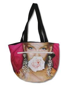 P!nk PINK Flower Mouth Portrait Zipper Pocket Purse Tote Bag NEW. OFFICIAL