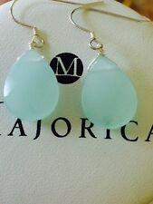 Adorable Aqua Blue Calcedony handmade sterling silver earrings