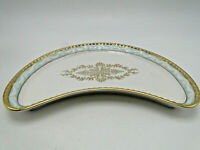 German RPM Royal Porzellan Manufaktur Crescent Salad Plate 9 3/8in gold trimmed