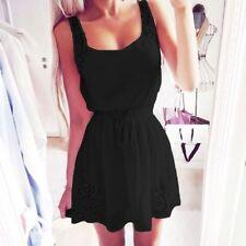 UK Womens Sleeveless Casual Midi Tops Short Beach Party Mini Black Dress Size 14