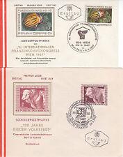 Österreich 1967: FDC Pflanzenschutzkongress Wien, 100 Jahre Rieder Volksfest