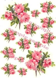 Shabby Roses Pink Bouquet Waterslide Decals