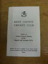 1976 Cricket: Kent County Cricket Club - Notice Of Annual General Meeting 1976 &