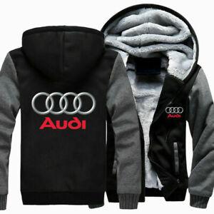 Winter Warm Audi Auto Moto Pullover Top Men Hoodie Zip Up Jacket Thicken Coat