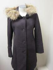 DKNY Donna Karan Wool Coat with Fur Trimmed Hood 4 Eggplant  NWOT