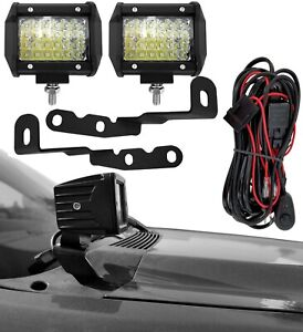Engine Hood Mount Bracket & LED Ditch Light for 07-13 Chevy Silverado GMC Sierra