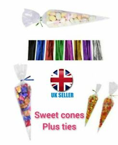 UK Cellophane Cone Sweet Bags Clear  Cello Party Gift Candy Treat + Twist Ties