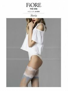 FIORE THE ONE HOLD UP STOCKINGS LINEN W/ BLUE & WHITE LACE TOP DESIGN SZ 2-3 & 4