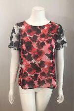 Halogen Black White Red Floral Sheer Short Sleeve Top Size S
