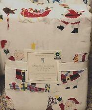 Pottery Barn Kids Organic Jolly Santa north pole Sheet set FULL Flannel