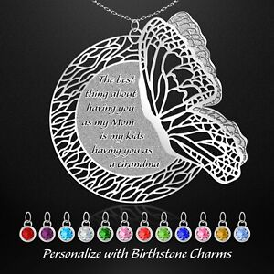 Mothers Day Gift Personalized Birthstone Jewelry Mom Grandma Necklace Butterfly