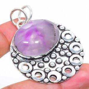 """Sage Amethyst Gemstone Handmade 925 Sterling Silver Jewelry Pendant 1.97"""" N081"""