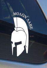 Molon Labe Spartan Helmet Decal - White