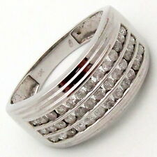 Mens Diamond 3-row Channel Cocktail Ring 0.67ct H/I1 10K white Gold size 10.25
