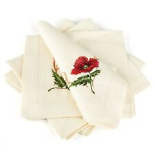 "Table Napkins / Set of 4 / Beige, Gray / Poppies / 16""x16"" / 100% European Linen"