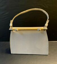 Vtg White Purse/Bag w/Metal Closure ~ Lining & Handle are in Great Condition ~