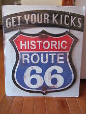 2-Piece Vintage Distressed Style GET YOUR KICKS HISTORIC ROUTE 66 Metal Sign
