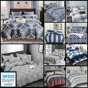 4 Piece Bedding Set / Duvet Cover / Pillow Cases Fitted Sheet Double King Cotton
