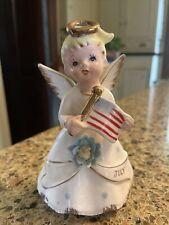 Vintage July Angel Birthday Month Porcelain Angel Flag Japan Repair Lefton?