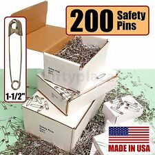 "Safety Pins Large Lot of 200 BRAND NEW Size 1-1/2"" Made In USA Free Ship"