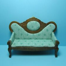 Dollhouse Miniature Victorian Sofa / Couch with Lt Green Fabric in Walnut