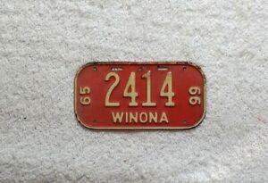 Vintage BICYCLE LICENSE PLATE • WINONA, MINNESOTA • 1965-66