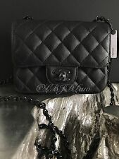 NWT CHANEL 2017 Square Classic Mini Flap SO BLACK Calf Caviar Crossbody SOLDOUT