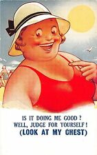Bamforth Comic postcard Fat Lady in the sun at beach Look at my Chest