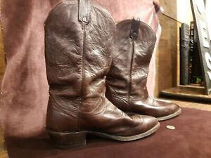 Pair of Dan Post Vintage Men's Cowboy Boots Burgundy Stitched Leather Size 11 D