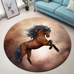 Brown Strong Horse Round Floor Yoga Mat Living Room Carpet Kids Play Area Rugs