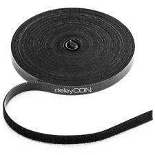 deleyCON 10m Klettband Rolle 10mm Breit Kabelbinder Klettverschluss Kabelklett