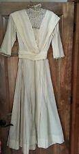 Antique Edwardian Victorian skirt blouse Lawn Dress Tea Lace Bodice XS 2 pc gown