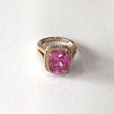 Pink Topaz 14ct Rose GF and White Topaz  Cocktail Ring PRICE REDUCTION