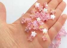 Pink star beads - 100 pieces - 200 pieces - kawaii star beads craft supplies