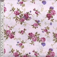 Dark pink and purple roses on light pink quilting fabric ~ per 1/2 METRE