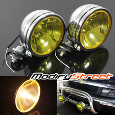 "2 x 6"" CHROME BASE YELLOW LENS 55W HALOGEN OFF ROAD SPOT DRIVING FOG LIGHT LAMP"