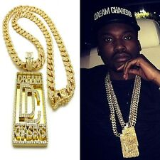DREAMCHASERS PENDANT 18K GOLD CUBAN LINK LAB DIAMOND CHAIN NECKLACE MEEK MILL