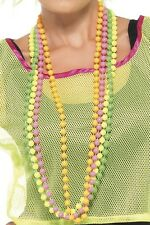 Damas Para Hombre 80s Neon Beads Mardi Gras Orgullo Fancy Dress Costume traje Collares