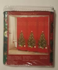 Christmas Tree Fabric Shower Curtain Bathroom Gifts Red 72 X 72 Traditional NEW
