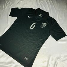 Super Rare Brazil Nike Cbf 2014 World Cup Jersey Black Gray Silky 6 Marcelo Med