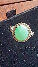 Genuine Light Geen 5.75ct Jadeite Jade (Type A) 925 Silver Ring SIZE Adjustable