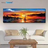 Hand painted Marine Palette Knife Seaside Sunset Landscape Canvas Oil Painting