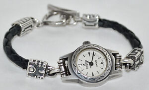 Peyote Bird of Santa Fe Sterling Accent Leather Cord Bracelet Watch Toggle Clasp