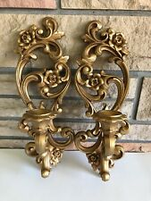 Vintage Pair Homco Candle Holder Gold Wall Sconce Hollywood Regency