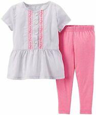 Carter's girl's 3 month gray short sleeve top pink pants leggings set