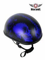 Motorcycle Matte Blue Skull Graveyard Novelty Helmet S, M, L, XL, 2XL