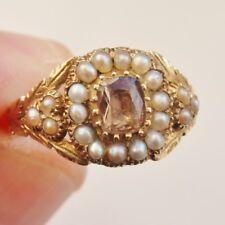 """Bell 'antico Georgiano Oro sventate Topazio & Anello di cluster di perle c1800; Uk Taglia """"L"""""""